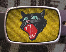 Black Cat Vintage Inspired Art Gift Kitty Belt Buckle