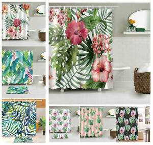 Tropical Flower Cactus Polyester Bath Carpet Mat Rug Shower Curtain Hooks 71""