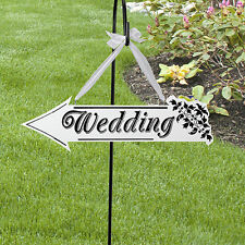 Wooden White Wedding Direction Arrow Sign Wedding Ceremony Reception Decor   YT
