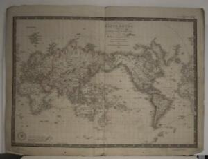 1840 ADRIEN-HUBERT BRUÉ ANTIQUE LITHOGRAPHIC WORLD MAP ON MERCATOR'S PROJECTION