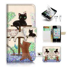 ( For iPhone 4 / 4S ) Flip Case Cover! P1944 Cat