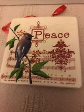 Peace, Joy, Noel, Love 4 Mini Plates Susan Winget 4.5in Ceramic