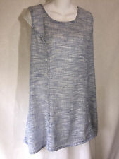 FLAX Engelhart Long Shapely Blue Gauze Linen Lagenlook Tunic Tank Top Shirt L