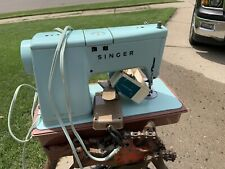 Vintage 1960s Singer Model 337 Or 338 Sewing Machine Turquoise W/Case Parts