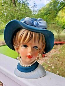"Vintage Lady Head Vase - Napcoware Napco C7494 - Blue Hat - 6"""