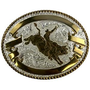 "Crumrine Bullrider Belt Buckle Heavy Silver Plate on Jewelers Bronze 4.5"" X 3.5"""