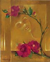 Chassard Marcel-René huile sur toile signée erotic dame aux camélia