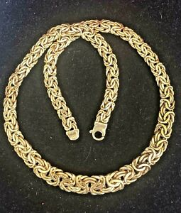 VINTAGE ESTATE 14K GOLD BYZANTINE NECKLACE MADE  ITALY DESIGNER SIGNED KITSINIAN