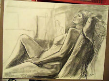 """""""RECLINING NUDE"""" by Ruth Freeman GRAPHITE 17 3/4"""" X 23 3/4"""""""