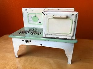 Vintage Antique Child's Doll Electric Kitchen Stove Tin Toy 1930s Kingston #306