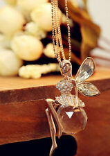 Crystal Ball Fairy Angel Flying Wing Gold Plated Pendant Necklace Long Chain
