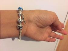 Sale 17cm 5Pc Silver Charm Beads Bracelet, Slim Girl Xmas Birthday Gift