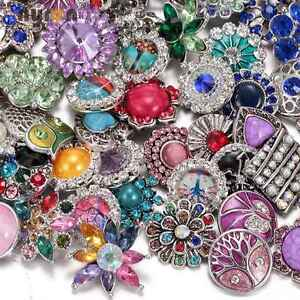 100pcs/lot Top Rhinestone Mixed Styles 18mm Metal Snap Button For Snaps Jewelry