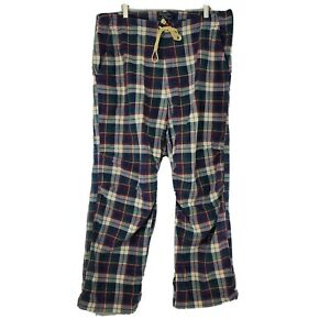 Abercrombie & Fitch Mens Sz Large Blue Red Plaid Lounge Button Fly Pajama Pants