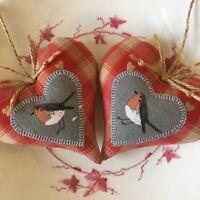 2 SOPHIE ALLPORT RED SKANDI CHRISTMAS ROBIN APPLIQUE Fabric Heart Door Hangers