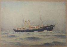 Aquarelle Originale Paquebot SS CLYDE Glasgow London 1890 Bateau A.E. MORRIS