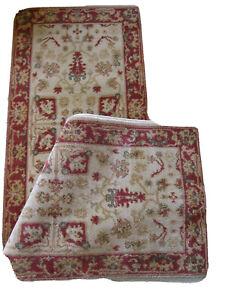 LAUREN RALPH LAUREN Oushak Ivory & Red 2' x 7-1/2' RUNNER Oriental Rug NEW