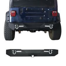 Textured Rock Crawler Rear Bumper w/ LED Light for 1987-2006 Jeep Wrangler YJ TJ