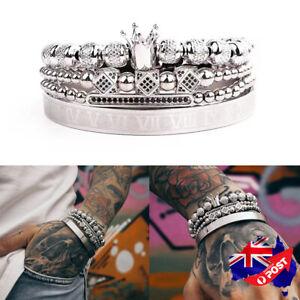 Men's 18K White Gold Filled Roman Numerals Crown Beaded Bangle Bracelet Stunning