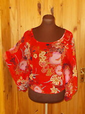 NEW LOOK red black pink blue floral chiffon short wide sleeve tunic top 10 38