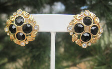 Estate, Stunning Black and Gold-Tone Swarovski Earrings w/ Clear Crystal Accents