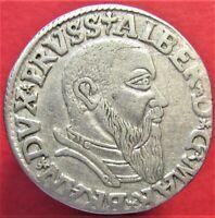 Silver Coin German States PRUSSIA 3 Groschen 1542  Albrecht von Brandenburg RARE
