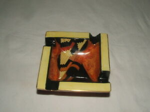 CARLTON WARE ART DECO GEOMETRIC JAZZ DESIGN RARE FOOTED ASH-TRAY TRULY STUNNING