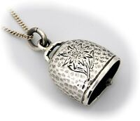 Pendentif Cloche Argent Véritable 925 Bijoux de Chasse Grandel Edelweiss