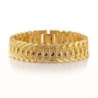 "Men's Bracelet GF Watch Chain 18k Yellow Gold Filled 8""Link Jewelry New"