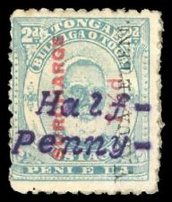 Tonga 1896 QV ½d on 7½d on 2d pale blue perf 12 *VERY RARE* MLH. SG 36Bp.