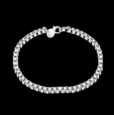Mens Womens 925 Sterling Silver Box Link Chain Bangle Fashion Bracelet #BR326