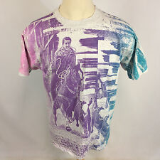 Vintage Neon All Over Print Rodeo Cowboy Horse Rope Cattle Surf Grunge T Shirt