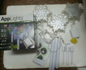 Gemmy AppLights LED Lightshow 3 Snowflake Pathway Stake 20.28 inch