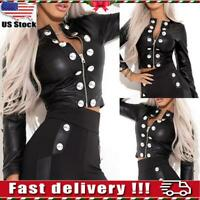 Women's PU Leather Motor Punk Jacket Ladies Coat Outwear Crop Tops Biker Coat