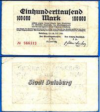 Germany 100000 Mark 1923 Duisburg City 100 000 Marks Free Ship Wrld