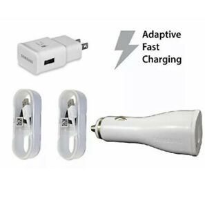 Fast Adaptive Charging Combo  Samsung Travel Charger+Car Charger+2 5 foot Cables