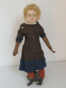 "Antique 18"" c.1860 German Paper Mache Doll Original Body and Clothes"