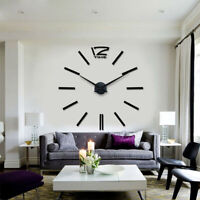 Modern Large Wall Clock 3D Mirror Sticker Big Number Watch DIY Home Room Decor