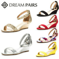 DREAM PAIRS Women's Ankle Strap Low Wedge Sandals Open Toe Casual Dress Shoes