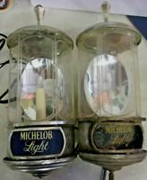 Vintage 1982 MICHELOB LIGHT Sconce Style Lighted Beer Signs - pair - PARTS ONLY