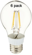 40W Equivalent Warm White Clear (3000K) E26 LED Filament Light Bulb 4W (6 Pack)