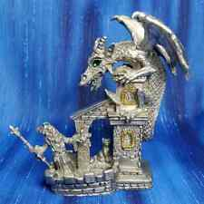 Evening Chat Dragon Wizard Cat Castle Pewter Figurine Rawcliffe US Made