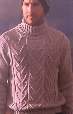 Mens Polo Neck Cable Sweater ( size S, M, L, XL, XXL ) Knitting Pattern