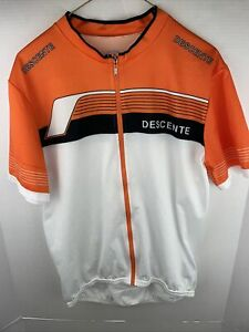 DESCENTE Short Sleeve Full Zip Orange And White Cycling Jersey Mens XL