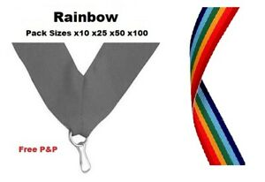 RAINBOW MULTI-COLOUR MEDAL RIBBONS LANYARDS & CLIP 22mm WOVEN PACKS 10/25/50/100