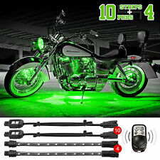 10 Pods + 4 Strip Remote Control Motorcycle Accent Neon Glow Light Kit  GREEN