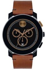 New Movado Bold 44mm Chronograph Cognac Leather Strap Men's Watch 3600348