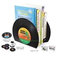 2Pcs Record Shaped Black Desk Organizer Desktop Office Home Bookends Book Holder