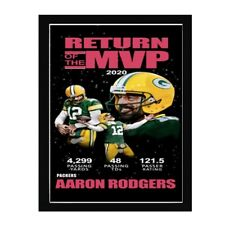 Aaron Rodgers MVP Quarterback NFL Art Wood Framed Picture Print