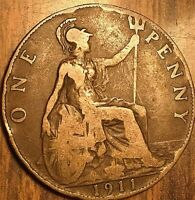1911 UK GB GREAT BRITAIN ONE PENNY